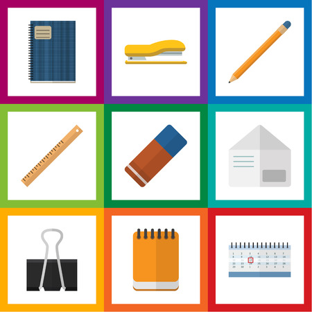 office stapler: Flat Icon Stationery Set Of Rubber, Paper Clip, Notepaper And Other Vector Objects. Also Includes Almanac, Envelope, Tool Elements. Illustration