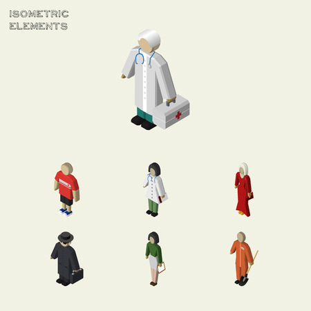 Isometric Human Set Of Female, Cleaner, Pedagogue And Other Vector Objects. Also Includes Educator, Pedagogue, Builder Elements.