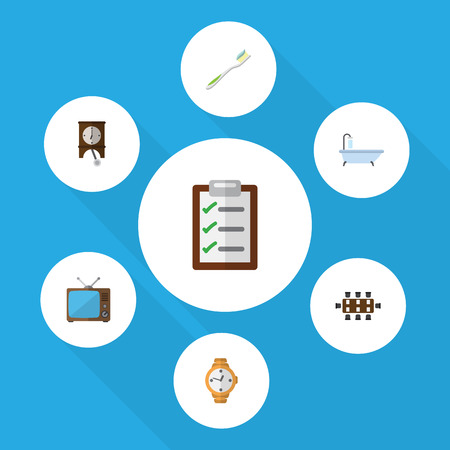 hdtv: Flat Icon Oneday Set Of Boardroom, Questionnaire, Dental And Other Vector Objects. Also Includes Checklist, Toothbrush, Pendulum Elements. Illustration