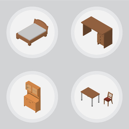 Isometric Furnishing Set Of Bedstead, Cupboard, Table And Other Vector Objects. Also Includes Bedstead, Chair, Desk Elements. Illustration
