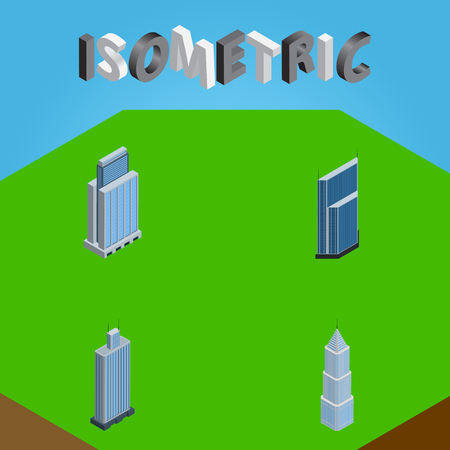 Isometric Skyscraper Set Of Residential, Business Center, Urban And Other Vector Objects. Also Includes Center, Residential, Exterior Elements. Illustration