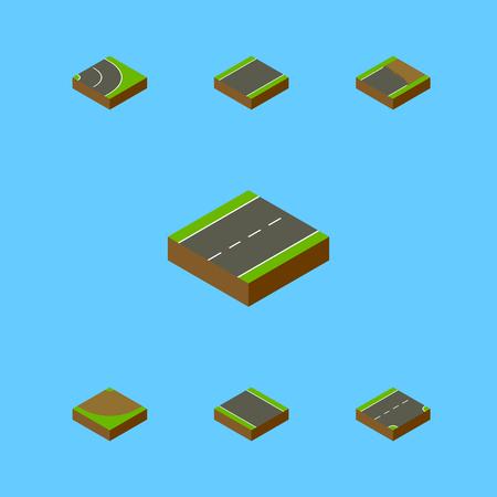 회전, 차도, 미완성 된 및 다른 벡터 객체의 아이소 메트릭도 설정합니다. 또한 레인, 불완전, 하향 요소를 포함합니다.