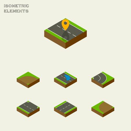 아이소 메트릭로드 탐색, 소, 모래 벡터 객체의 설정. 또한 오른쪽, 도로, 균열 요소를 포함합니다.