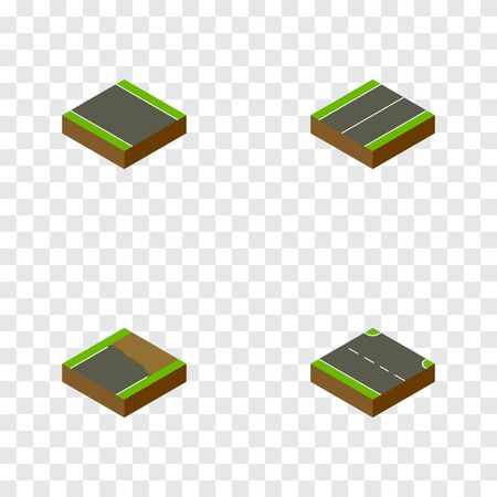 unilateral: Isometric Way Set Of Without Strip, Unfinished, Plane And Other Vector Objects. Also Includes Right, Road, Unilateral Elements. Illustration