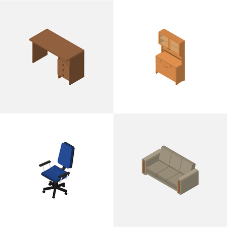 Isometric Design Set Of Cupboard, Table, Office And Other Vector Objects. Also Includes Couch, Chair, Office Elements. Illustration