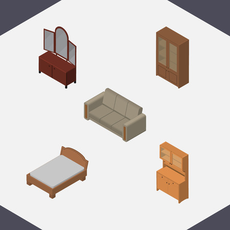 Isometric Design Set Of Drawer, Couch, Cabinet And Other Vector Objects. Also Includes Closet, Cabinet, Couch Elements. Illustration
