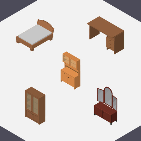Isometric Design Set Of Table, Bedstead, Drawer And Other Vector Objects. Also Includes Table, Cabinet, Bed Elements. Illustration