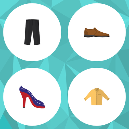 Flat Icon Clothes Set Of Banyan, Male Footware, Heeled Shoe And Other Vector Objects. Also Includes Shoes, Leggings, Banyan Elements. Illustration