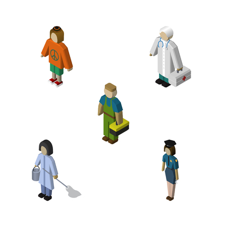 Isometric Human Set Of Policewoman, Housemaid, Medic And Other Vector Objects. Also Includes Cleaner, Woman, Housekeeper Elements.