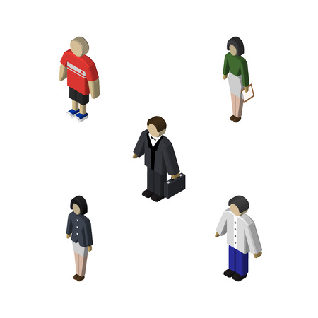 Isometric Human Set Of Girl, Investor, Pedagogue And Other Vector Objects. Also Includes Human, Girl, Pedagogue Elements.