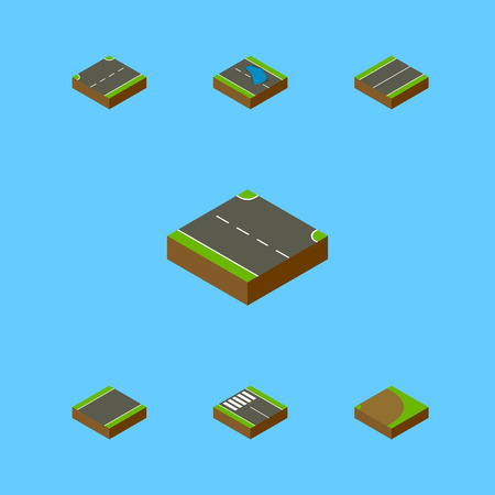 unilateral: Isometric Road Set Of Upwards, Rotation, Strip And Other Vector Objects. Also Includes Road, Strip, Upward Elements.