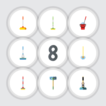 besom: Flat Icon Broomstick Set Of Broom, Cleaning, Bucket And Other Vector Objects. Also Includes Cleaner, Equipment, Broomstick Elements. Illustration