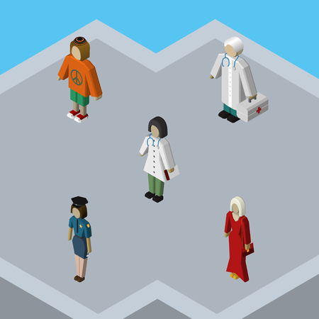 Isometric Human Set Of Doctor, Lady, Medic And Other Vector Objects. Also Includes Woman, Hippie, Officer Elements.