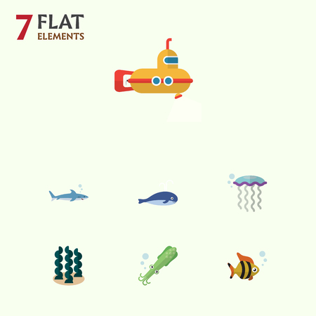 cachalot: Flat Icon Sea Set Of Cachalot, Medusa, Alga And Other Vector Objects. Also Includes Periscope, Fish, Spirulina Elements. Illustration