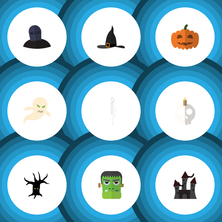 phantom: Flat Icon Celebrate Set Of Witch Cap, Tomb, Cranium And Other Vector Objects. Also Includes Pumpkin, Wizard, Specter Elements.