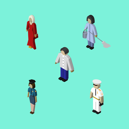 Isometric Human Set Of Policewoman, Seaman, Housemaid And Other Vector Objects. Also Includes Mariner, Officer, Male Elements.