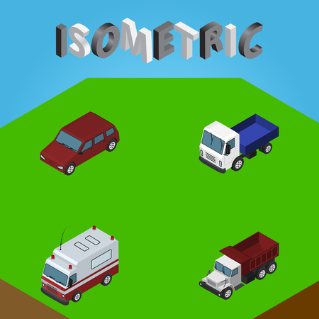 Isometric Automobile Set Of Freight, First-Aid, Car And Other Vector Objects. Also Includes Aid, Truck, Car Elements. Illustration