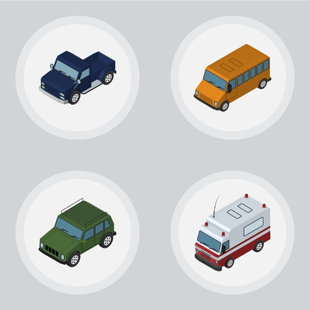 Isometric Automobile Set Of Autobus, Armored, First-Aid And Other Vector Objects. Also Includes Auto, Aid, Car Elements.