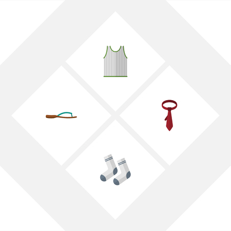 Flat Icon Dress Set Of Foot Textile, Singlet, Cravat And Other Vector Objects. Also Includes Foot, Socks, Cravat Elements. Illustration