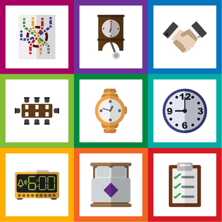 alright: Flat Icon Life Set Of Clock, Mattress, Electric Alarm And Other Vector Objects. Also Includes Boardroom, Questionnaire, Electric Elements.