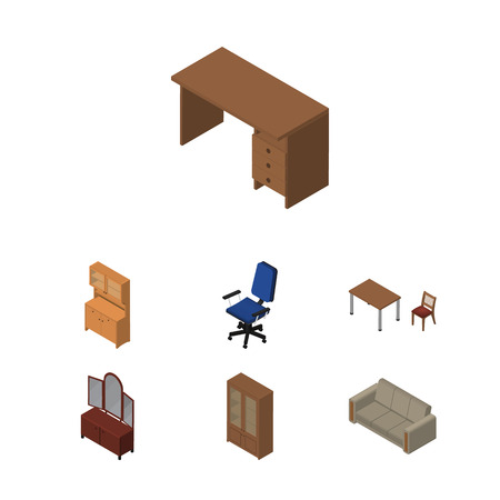 Isometric Furniture Set Of Couch, Table, Office And Other Vector Objects. Also Includes Office, Drawer, Couch Elements. Illustration