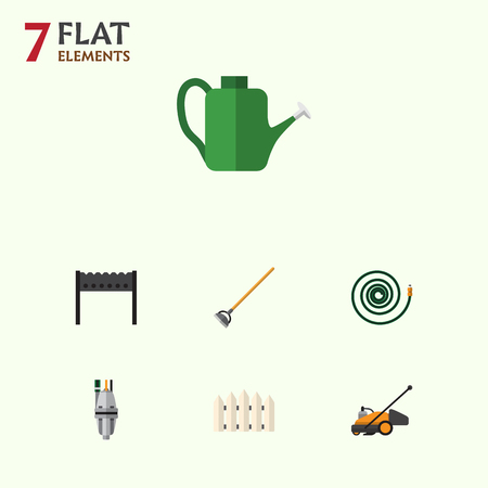 Flat Icon Garden Set Of Wooden Barrier, Tool, Bailer And Other Vector Objects. Also Includes Wooden, Hosepipe, Can Bailer Elements.