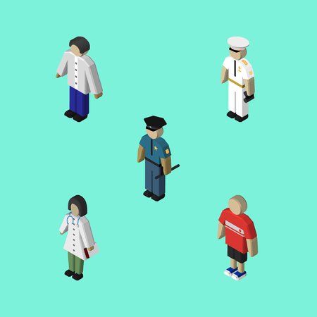 Isometric Person Set Of Male, Doctor, Officer And Other Vector Objects. Also Includes Boy, Sailor, Medic Elements.  イラスト・ベクター素材
