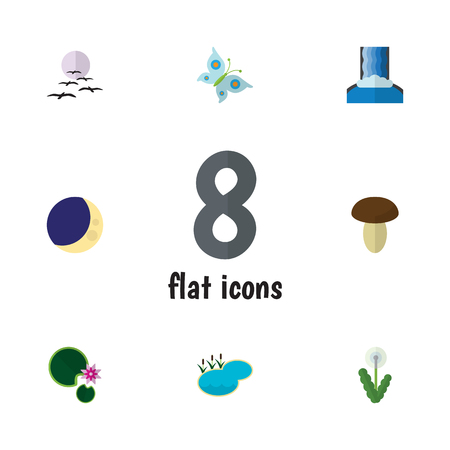 tributary: Flat Icon Natural Set Of Cascade, Half Moon, Pond And Other Vector Objects. Also Includes Flower, Crescent, Bird Elements. Illustration