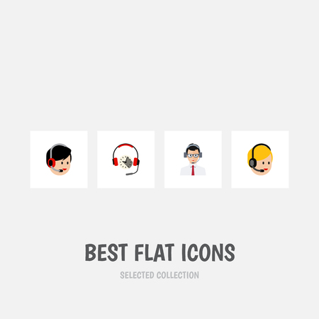 Flat Icon Call Set Of Headphone, Call Center, Operator And Other Vector Objects. Also Includes Service, Help, Earphone Elements.