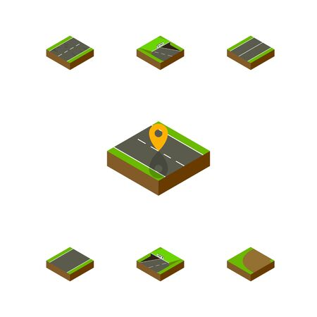 Isometric Road Set Of Subway, Turning, Underground And Other Vector Objects. Also Includes Subway, Cracks, Unilateral Elements. Illustration