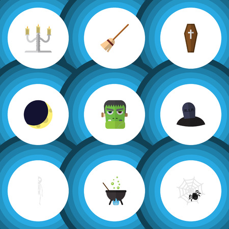 undead: Flat Icon Celebrate Set Of Monster, Tomb, Candlestick Vector Objects. Also Includes Arachnid, Candelabrum, Cranium Elements. Illustration