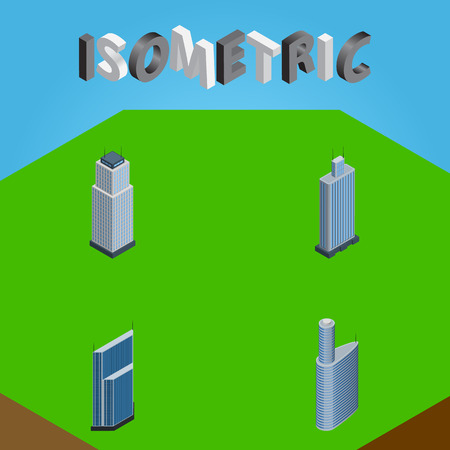 Isometric Construction Set Of Building, Tower, Residential And Other Vector Objects. Also Includes Business, Urban, Tower Elements. Illustration