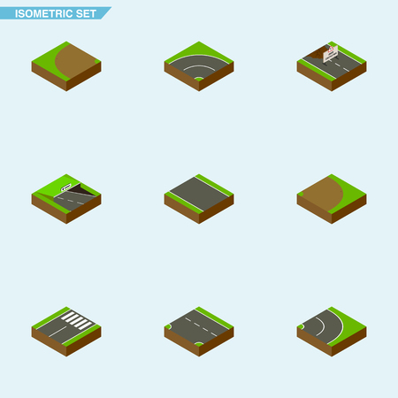 tarmac: Isometric Way Set Of Without Strip, Repairs, Bitumen And Other Vector Objects. Also Includes Under, Subway, Down Elements.