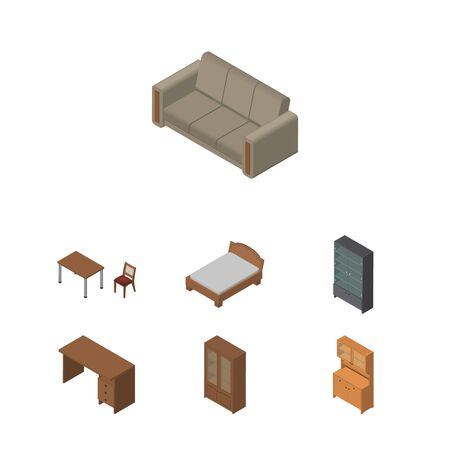Isometric Design Set Of Cupboard, Couch, Cabinet And Other Vector Objects. Also Includes Wardrobe, Furniture, Bed Elements.