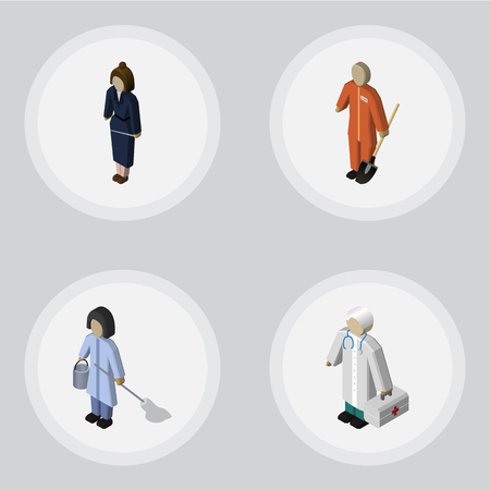 Isometric Person Set Of Businesswoman, Housemaid, Cleaner And Other Vector Objects. Also Includes Builder, Worker, Cleaner Elements.