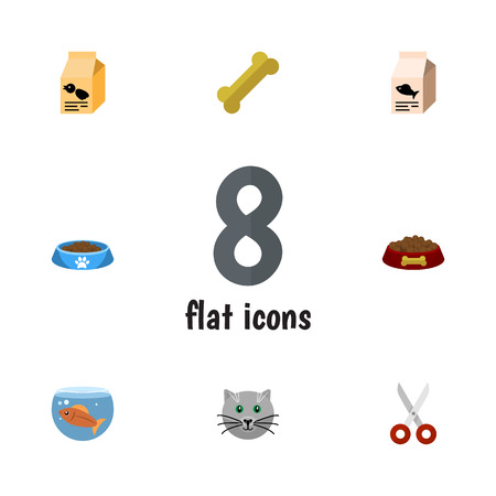 Flat Icon Pets Set Of Shears, Cat  Eating, Nutrition Box And Other Vector Objects. Also Includes Fishbowl, Scissors, Box Elements. Illustration