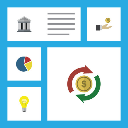Flat Icon Finance Set Of Bubl, Interchange, Bank And Other Vector Objects. Also Includes Interchange, Pie, Exchange Elements.