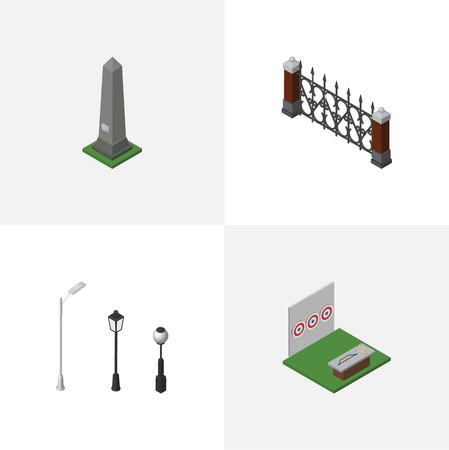 Isometric Architecture Set Of Dc Memorial, Street Lanterns, Aiming Game And Other Vector Objects. Also Includes Lanterns, Aiming, Hedge Elements. Illustration
