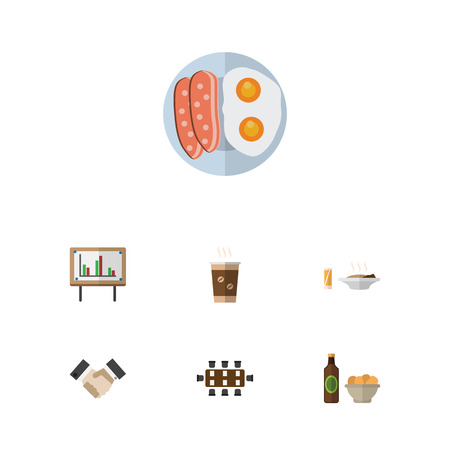 Flat Icon Life Set Of Boardroom, Beer With Chips, Lunch And Other Vector Objects. Also Includes Table, Handshake, Partnership Elements.