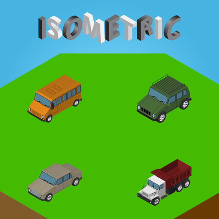 Isometric Car Set Of Auto, Autobus, Freight And Other Vector Objects. Also Includes Suv, Auto, Sedan Elements.