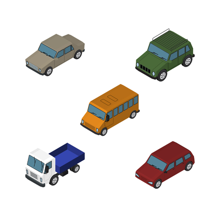 Isometric Car Set Of Autobus, Car, Armored And Other Vector Objects. Also Includes Suv, Lorry, Car Elements.