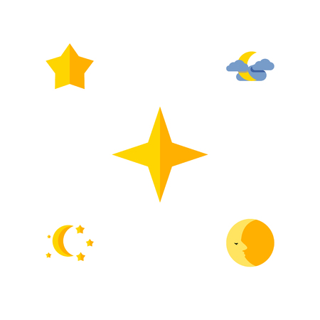 Flat Icon Midnight Set Of Midnight, Starlet, Lunar And Other Vector Objects. Also Includes Cloud, Twilight, Night Elements.