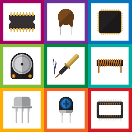 soldering: Flat Icon Technology Set Of Transducer, Resist, Triode And Other Vector Objects. Also Includes Coil, Bobbin, Hdd Elements. Illustration