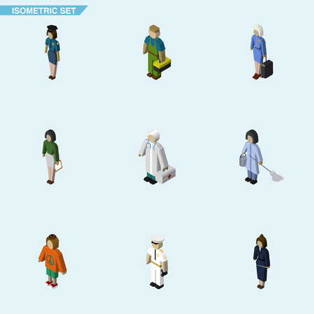 Isometric Human Set Of Pedagogue, Policewoman, Lady And Other Vector Objects. Also Includes Hostess, Mariner, Housemaid Elements.  イラスト・ベクター素材