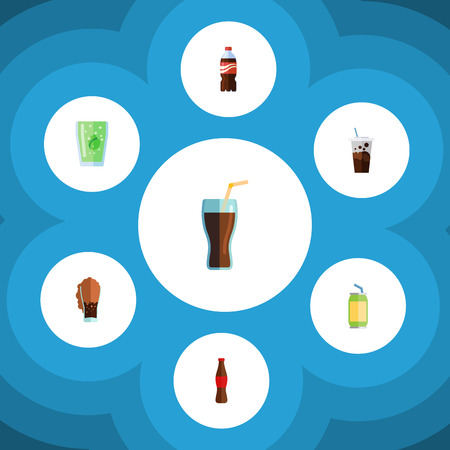 Flat Icon Beverage Set Of Bottle, Soda, Fizzy Drink And Other Vector Objects. Also Includes Soda, Coca, Carbonated Elements. Illustration