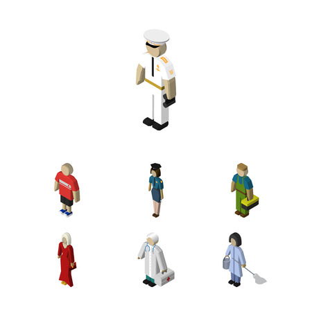 Isometric Person Set Of Policewoman, Plumber, Housemaid And Other Vector Objects. Also Includes Policewoman, Guy, Girl Elements. Illustration