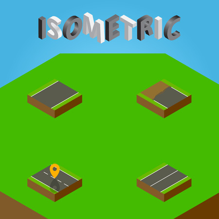 Isometric Way Set Of Plane, Unilateral, Incomplete And Other Vector Objects. Also Includes Flat, Unfinished, Location Elements.