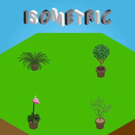 Isometric Plant Set Of Fern, Tree, Plant And Other Vector Objects. Also Includes Houseplant, Plant, Flowerpot Elements.
