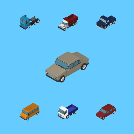 Isometric Automobile Set Of Truck, Freight, Suv And Other Vector Objects. Also Includes Bus, Motor, Truck Elements.