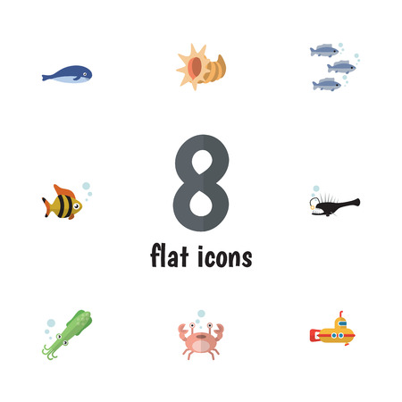 cachalot: Flat Icon Marine Set Of Fish, Octopus, Seafood And Other Vector Objects. Also Includes Squid, Humpback, Cachalot Elements.